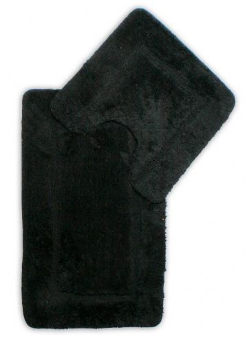 DESIGNER LUXURY SOFT MICROFIBRE BATH MAT & PEDESTAL BLACK COLOUR